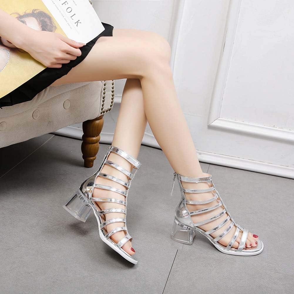 Kristallen sandalen voor dames,open teen hoge hak bandage martin laarzen met dikke hak,Ritssluiting achter Clear Heel Europe and America Boots Silver