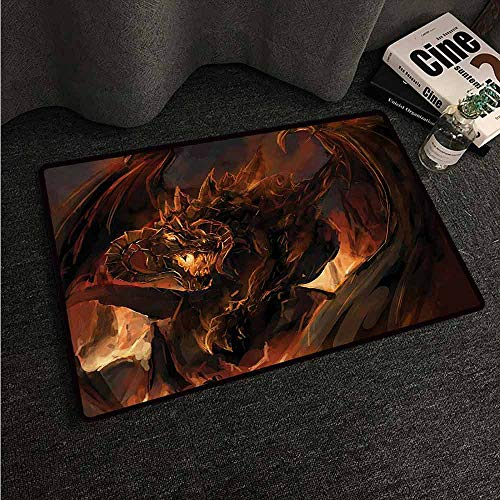 HCCJLCKS Interior Door mat Dragon Demonic Angry Molten Dragon with Horns Burning in Flames Imaginary Inferno Beast All Season General W35 xL59 Yellow Brown