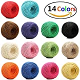 #10: 1148 Feet (383 yards) 2mm 3 ply Colourful Natural Jute Twine - 14 Roll Jute String, Twine String for Artworks, DIY Crafts, Gift Wrapping Twine, Picture Display and Embellishments
