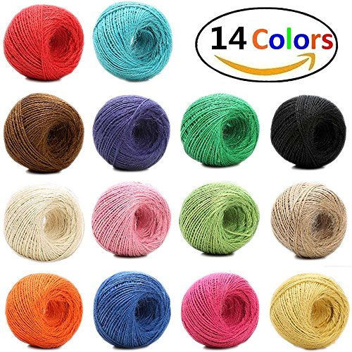 1148 Feet (383 yards) 2mm 3 ply Colourful Natural Jute Twine - 14 Roll Jute String, Twine String for Artworks, DIY Crafts, Gift Wrapping Twine, Picture Display and Embellishments (String Thick)