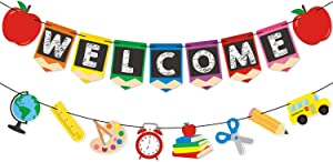 Back to School Party Supplies Welcome Banner - First Day of School Banner - Teacher Banner - Classroom Decor - Office Decor - Apple Pencil Stationery Garland New Grade of Class Pennant Props Decoration Supplies