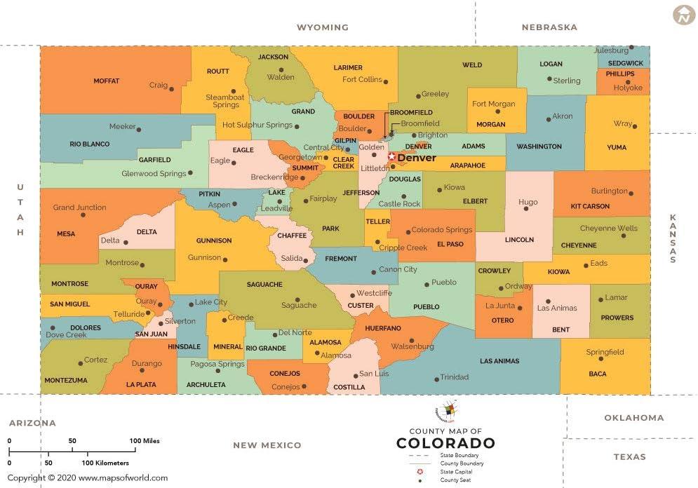 Colorado Map Of Counties Amazon.: Colorado County Map (36