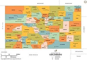 """Condado de Colorado mapa – LAMINADO (36 """"W x 24.35"""" H"""
