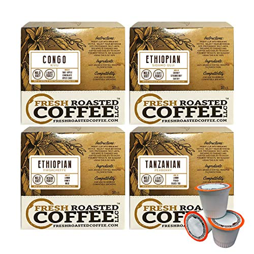 - Fresh Roasted Coffee LLC, African Varietal Coffee Pod Variety Pack, Compatible with 1.0 / 2.0 Single-Serve Brewers, 72 Count