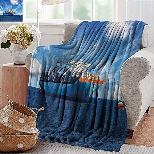Xaviera Doherty Summer Blanket Nautical,Tugboats with Cargo Ships Microfiber All Season Blanket for Bed or Couch Multicolor 50