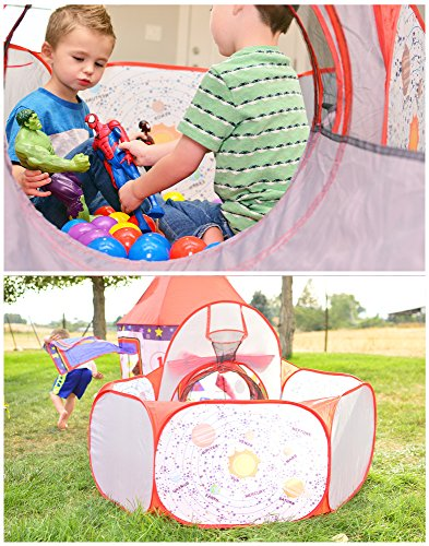 Playz 3pc Rocket Ship Astronaut Kids Play Tent, Tunnel, & Ball Pit with Basketball Hoop Toys for Boys, Girls, Babies, and Toddlers – STEM Inspired Educational Galactic Spaceship Design w/ Planets