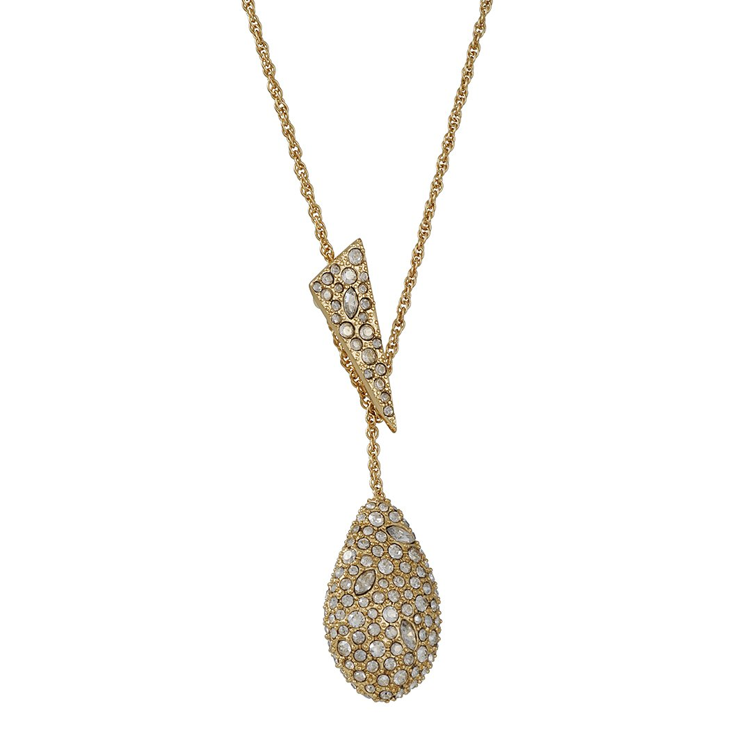 Alexis Bittar Pave Teardrop Lariat Pendant with Pave Shard 10k Gold Tone Plating Y-Shaped Necklace