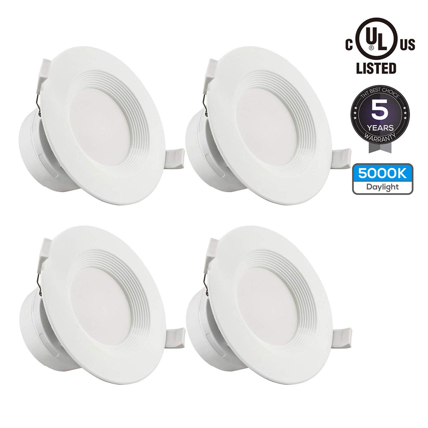 TORCHSTAR 4 PACK 6'' LED Recessed Downlight with Junction Box, 9W (80W Equivalent) Dimmable LED Ceiling Light Fixture, IC-Rated & Air Tight, Wet Location, 5000K Daylight, UL-listed, 5 Years Warranty