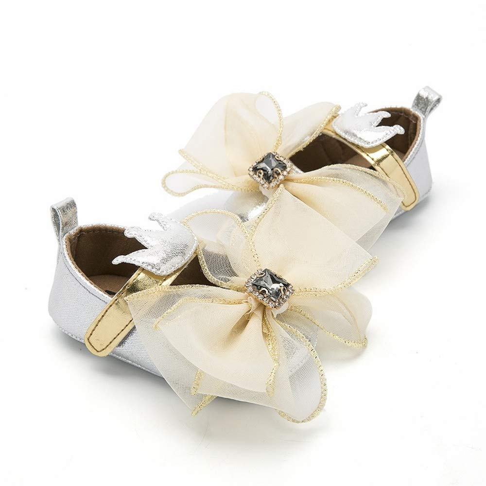 Baby Girls Mary Jane Flats Bowknot Soft Sole Shoes Anti Slip Glitter Diamond Rhinestone Princess Toddler Shoes
