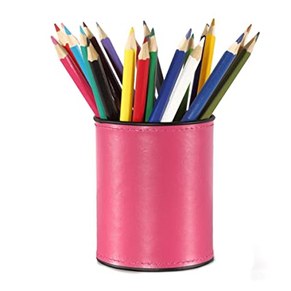 Creative Life Office Desk Accessories Pu Leather Cover Alloy Round Pens  Pencils Holder Desk Organizer?