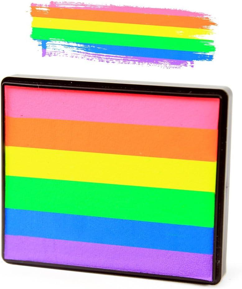 Silly Farm Face Painting Neon Rainbow Cake