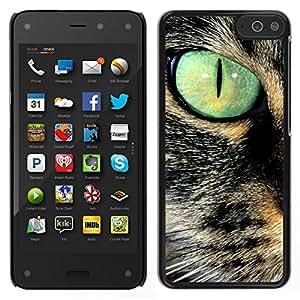 EJOY---Cubierta de la caja de protección para la piel dura ** Amazon Fire Phone ** --Savannah Serengeti somalí del gato del trullo de ojos