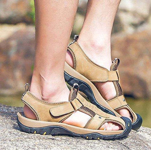 sandali cento pelle da in Red dimensioni moda Leisure Outdoor brown Colore 39 sandali Cachi HAOYUXIANG Beach sandali uomo Tide Baotou nS78Bqpw
