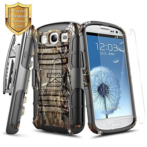 Galaxy S3 Case w/ [Tempered Glass Screen Protector], NageBee [Heavy Duty] Armor Shock Proof [Belt Clip] Holster [Kickstand] Combo Rugged Case for Samsung Galaxy S3 S III I9300 GS3 All - Protector Galaxy S3 Phone