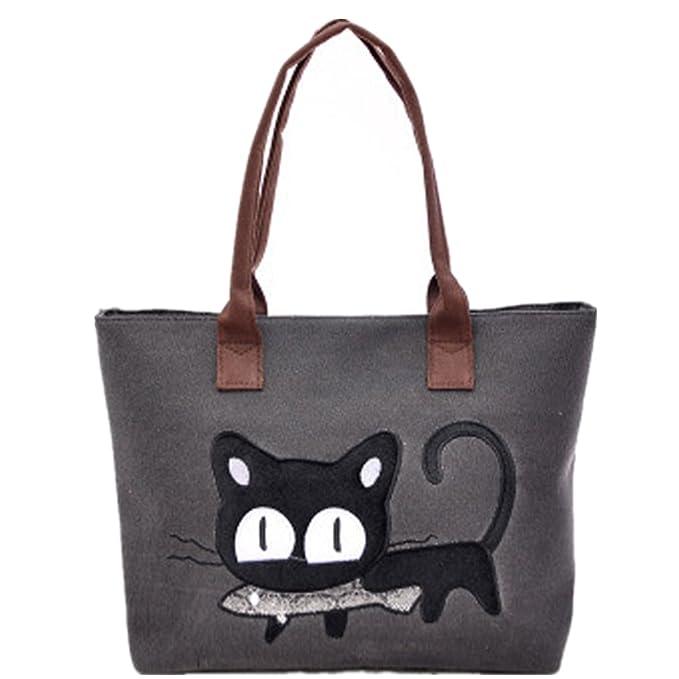 Bolso, Manadlian Nuevo Moda Mujer Bolsa de hombro Lindo bolso de gato Bolsa de lona Oficina Bolsa del almuerzo (42*28cm, E): Amazon.es: Hogar