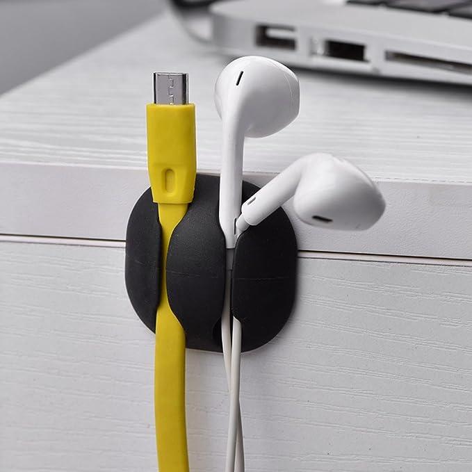 Elfcam lote de 50 Clips de cable adhesivo ajustable para gesti/ón de cable de fibra de litio fijaci/ón de cable y cable en la casa o la oficina