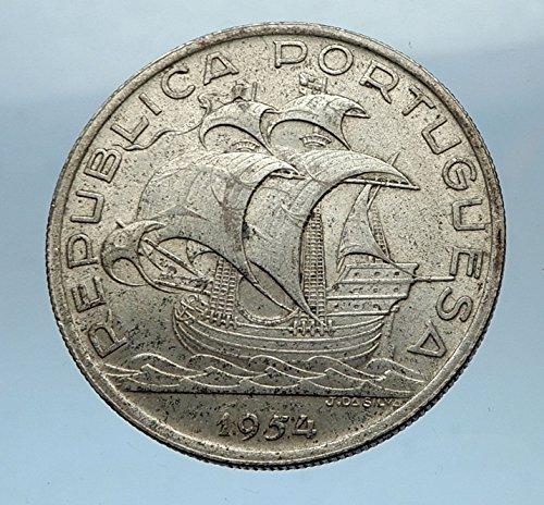 - 1954 PT 1954 PORTUGAL 0.33oz AR 10 Escudos Coin w PORTUGU coin Good