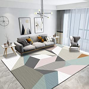 Modern Gray Rugs for Living Room, Indoor Odor-Free Washable Protective Rug Suitable for Study Bedroom, Short Pile Decorative Rug, Rug Slip mat-B_180280CM