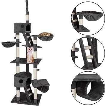 CADOCA@ Arbol rascador para gatos extra alto | Grandes plataformas | 2 cuevas | 2 nidos | 1 tubo | 2 escaleras | 2 pelotas | Color marrón: Amazon.es: Hogar