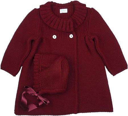 FOQUE - Abrigo de Punto para niña con gorrito a Juego. Cierre con Botones Delanteros. Cuello Redondo