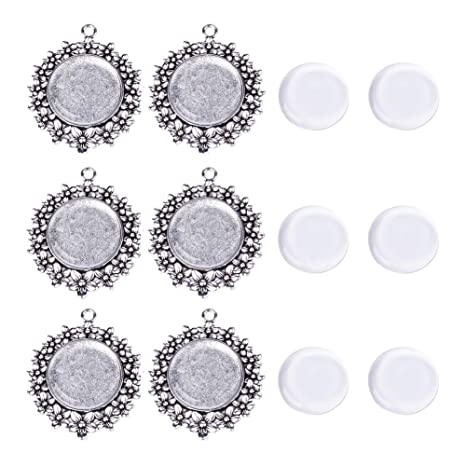 5 Sets Star Shaped Pendant Settings Flat Round Glass Cabochons Antique Silver