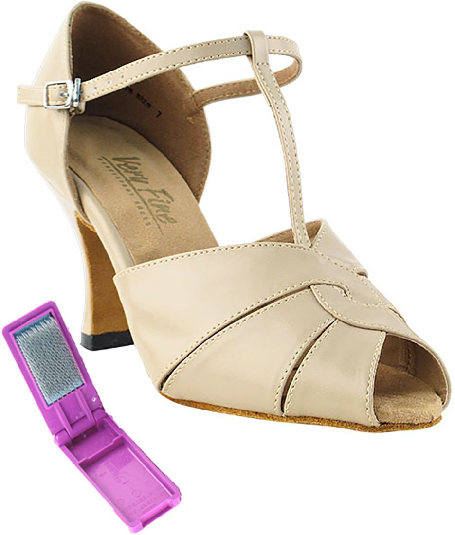 Very Fine Ballroom Latin Tango Salsa Dance Shoes for Women 6006 2.5 inch Heel + Foldable Brush Bundle - Tan Leather - 7.5