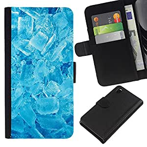 - REFRESHING SNOW WINTER CRYSTALS ICE COOL - - Prima caja de la PU billetera de cuero con ranuras para tarjetas, efectivo desmontable correa para l Funny House FOR Sony Xperia Z3 D6603