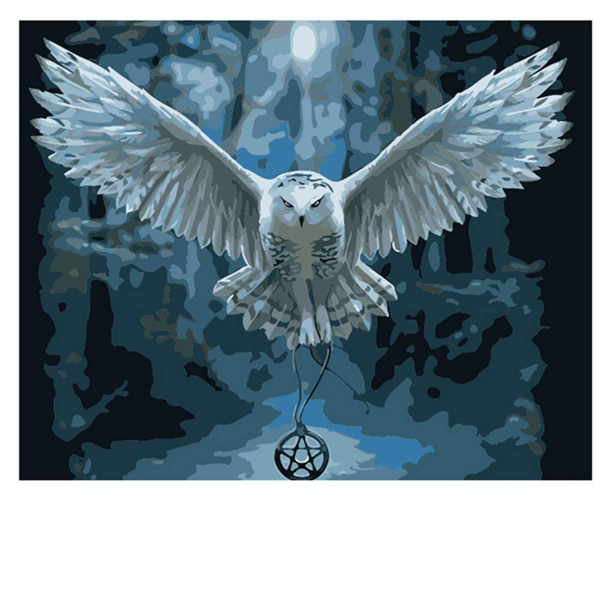 KUNLEE DIY del Regalo del Aceite de la Pintura del Animal de la decoración de la Sala de Estar de Madera Dapeng extendido águila alada 40 * 50 cm (sin Marco)