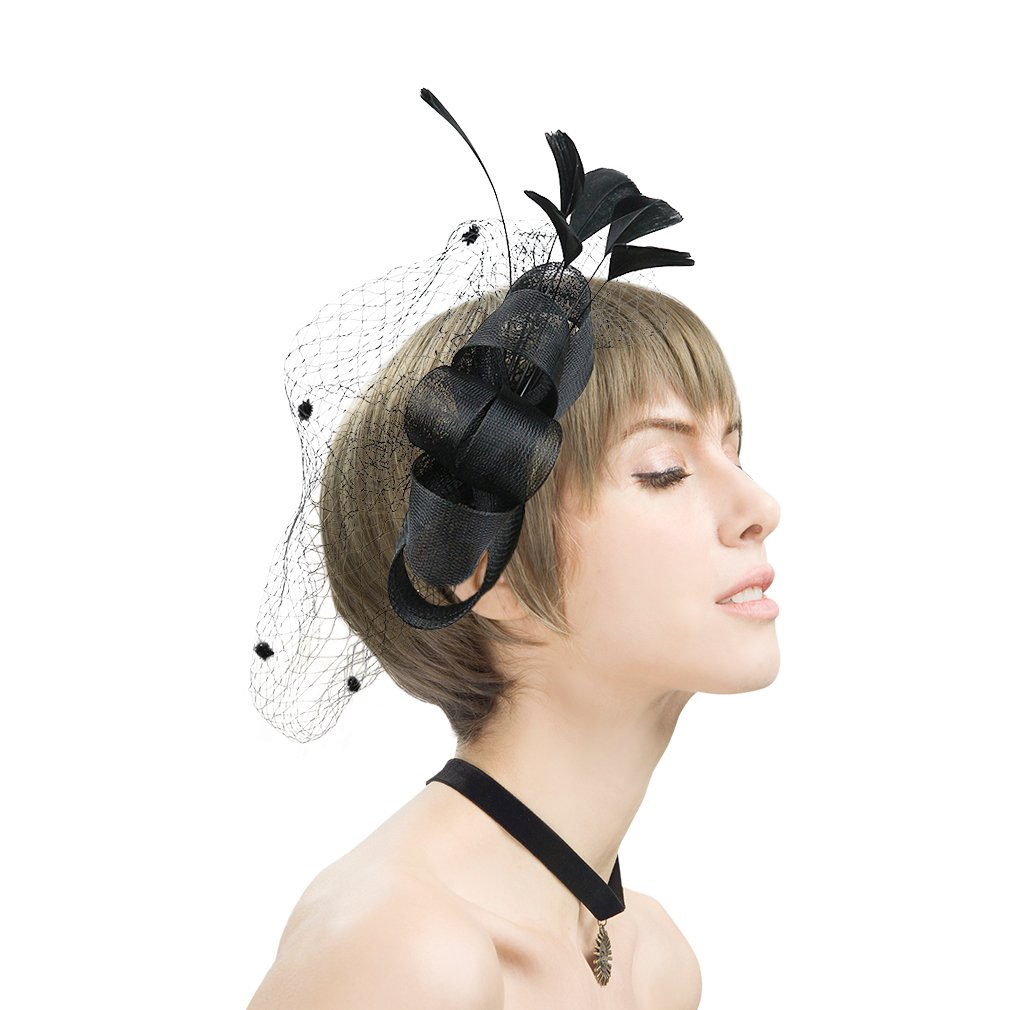 CHLONG Fascinator Hat with veil Feather Mesh Fancy Hat with Clip for Women (Black)