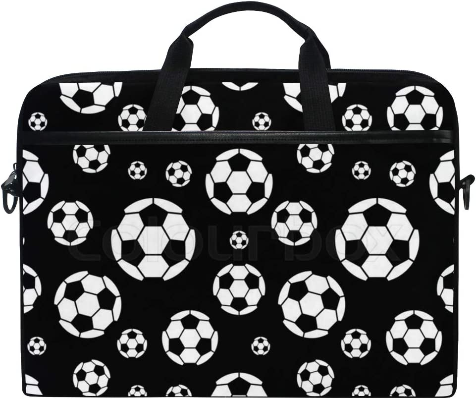 "SLHFPX Laptop Bag Black and White Soccer Ball 14"" 15"" Laptop Case Notebook Briefcase Tablet Handbag Sleeve Computer Backpack with Shoulder Strap Handle for Men Women Travel Business School"
