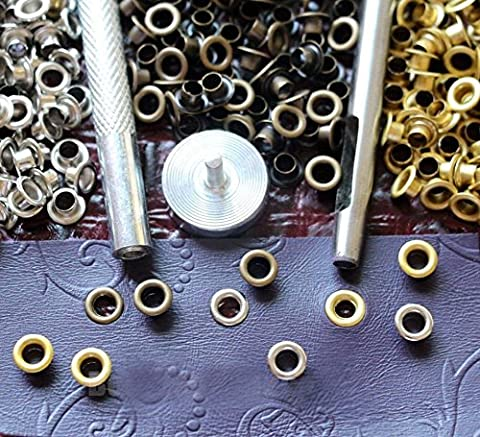 Leathercraft with Setter Tools Kit 120pcs Eyelets, Silver/antique Brass/gold - Gold Silver Brads