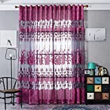 Polyester yarn Jacquard Half shading Living room bedroom The finished product Transparent Window Curtains 1 Panel , violet , 100*250cm