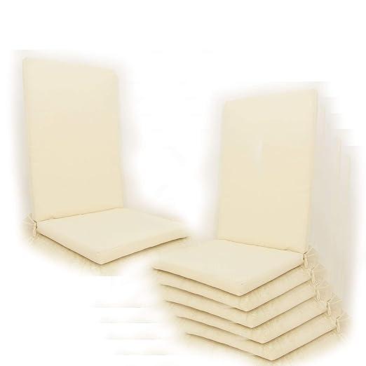 Edenjardi Pack 6 Cojines para sillones de jardín reclinables Color Beige | Tamaño 114x48x5 cm | Repelente al Agua | Desenfundable | Portes Gratis