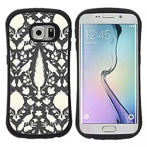 "Hypernova Slim Fit Dual Barniz Protector Caso Case Funda Para Samsung Galaxy S6 EDGE [Papel pintado gris pluma del pavo real""]"
