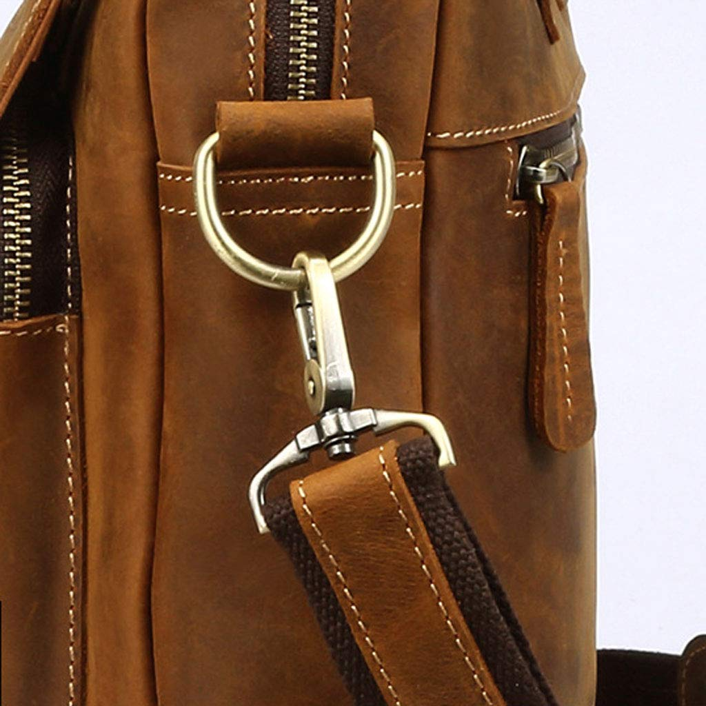 Color : Brown, Size : S Shoulder Diagonal Tote ZH Backpack Mens Business Briefcase