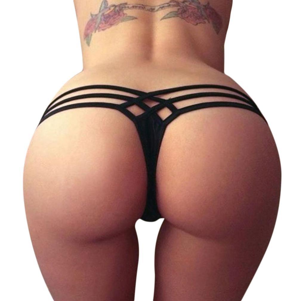 4d5e62c75a8 Amazon.com: BSGSH Women's Sexy Triple Strappy Cheeky Lack Bikini ...