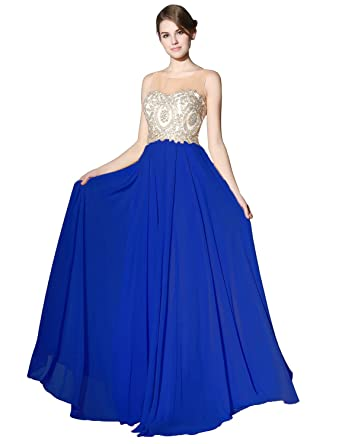 Clearbridal Womens Lace Applique Prom Evening Dresses Long Chiffon Ball Gowns LX356: Amazon.co.uk: Clothing