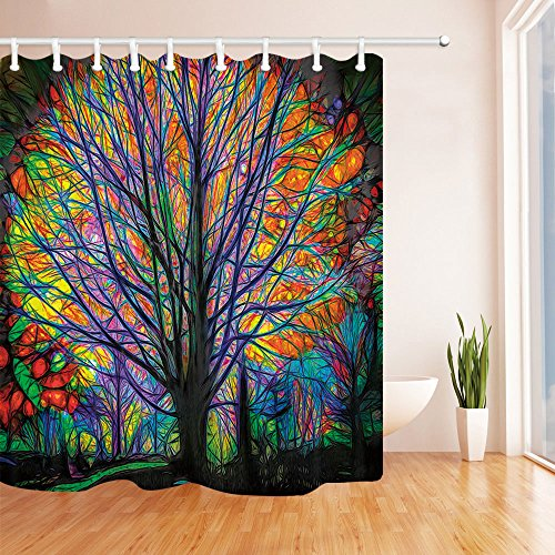 NYMB Creative Trees Decoration Bath Curtain, Colorful Watercolor Spring Life Tree Shower Curtain, Mildew Resistant Fabric Shower Curtains for Bathroom, 69X70in, Hooks Included