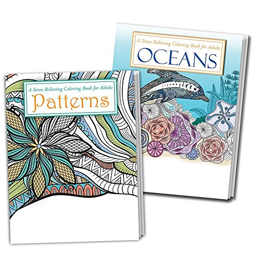 OCEANS and PATTERNS Adult Coloring Books - 2 Pack - Beautiful Ocean and Pattern Designs to Color by Safety Magnets