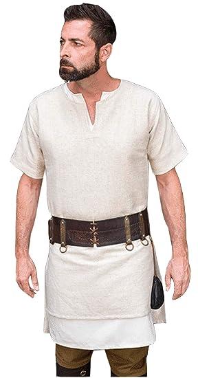 Pirate Shirt Adult Medieval Renaissance Costume Fancy Dress Viking Tunic Shirt!