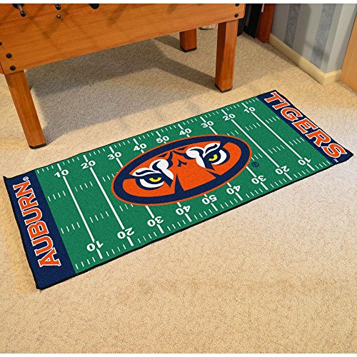 Runner Football Tigers (Fan Mats Auburn University Patterned Area Rug, Tigers Football Field Themed, Runner Indoor Hallway Living Area Bedroom Kitchen Cabin Carpet, Bold Geometric Straight Lines Design, Orange Size 2'5 x 6')