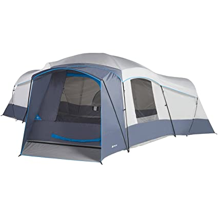 Spacious Family Sized 16-Person Weather Resistant Ozark Trail 23 5' x 18 5'  Cabin Camping Tent, Gray and Blue