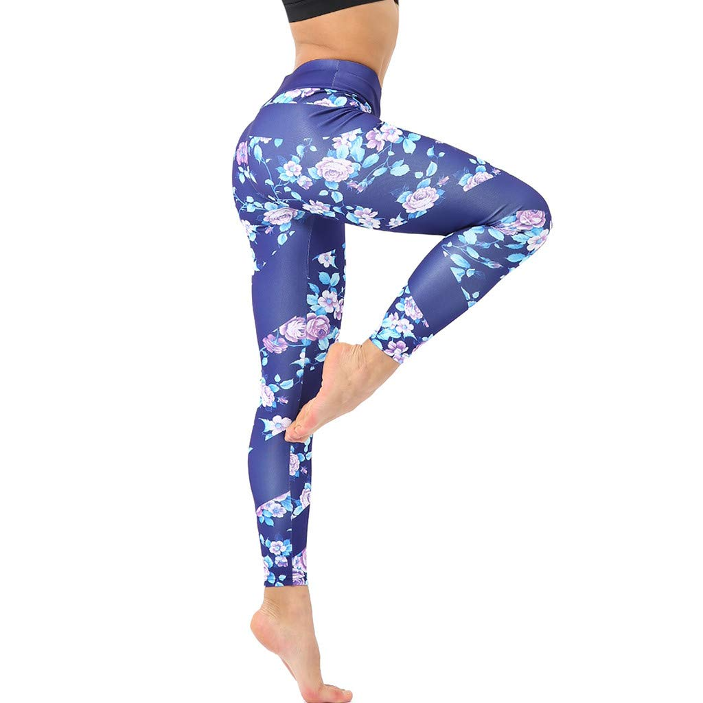 Yoga Pants for Women Butt Lifting Womens Casual Floral Print High Waist Yoga Running Sports Pants Trouser