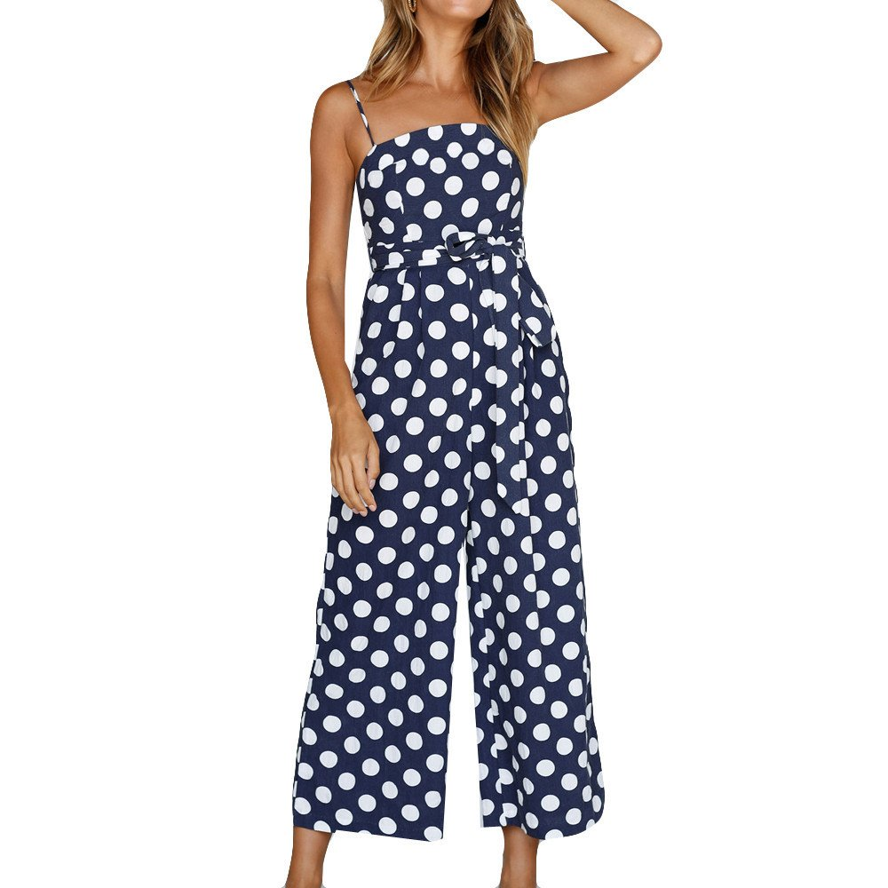 LIM&Shop Women Summer Jumpsuit Spaghetti Strap Romper Cami Top Polka Dots Waist Belted Wide Leg Playsuit Cropped Pants Navy by LIM&SHOP-Women Jumpsuits & Pants
