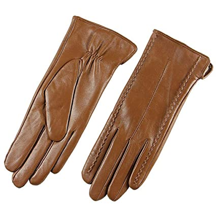 107fbaa3c Elegant Women Genuine Lambskin Leather Gloves Autumn Winter Thermal Hot  Trendy Female Glove Leather Brown S