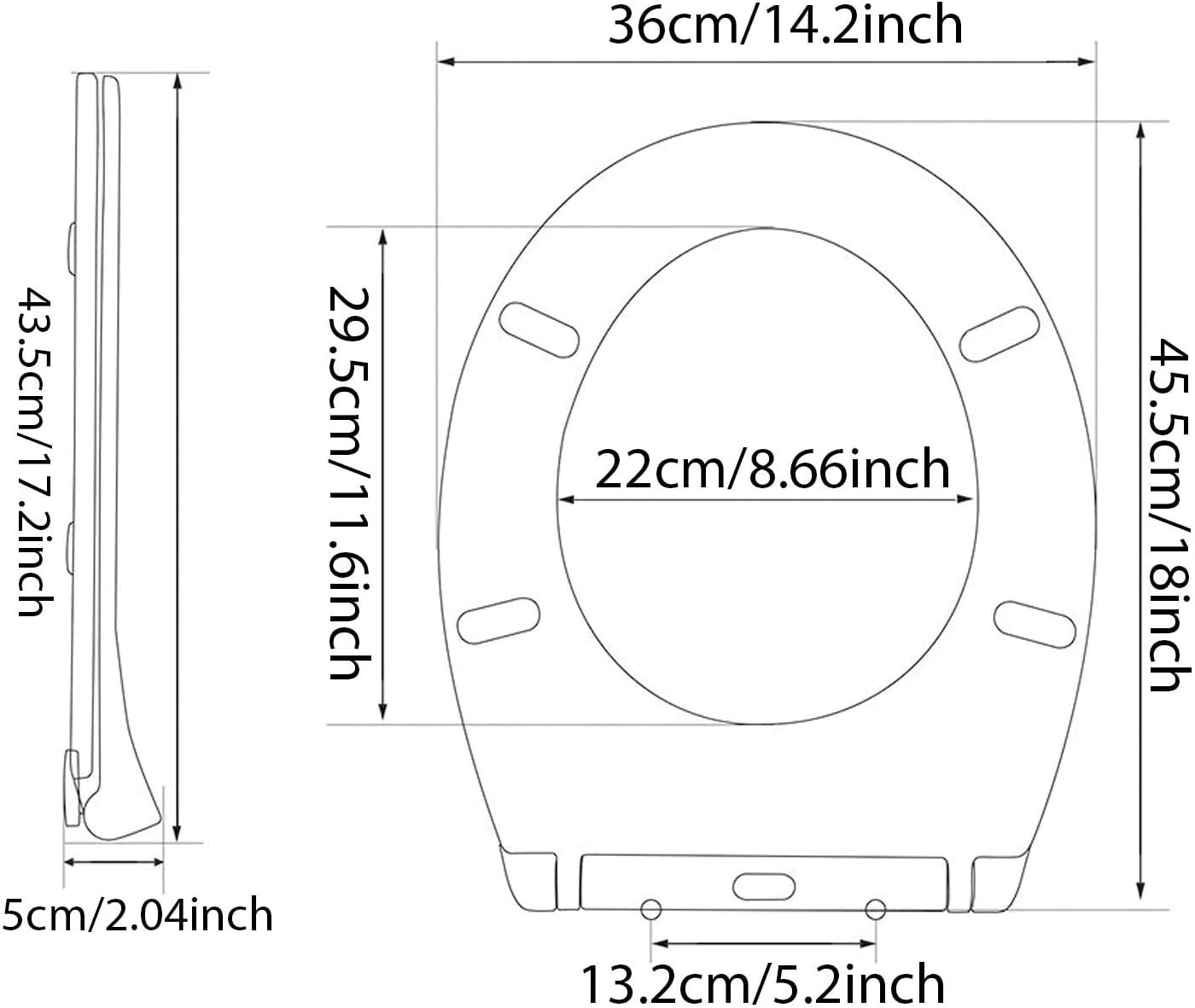 Automatic Lowering,Ergonomic Design with Stainless Steel Hinges Simple Top Fixing AEE LIFV Soft Close Quick Release Toilet Seat O Shape