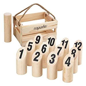 ROPODA Wooden Throwing Molkky Game Set, Original Game, Outdoor Yard and Lawn Games for Kids and Adults