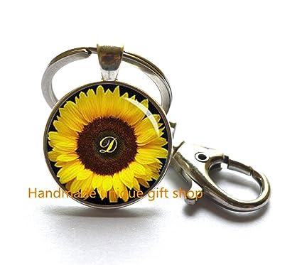 Amazon.com: Fashion Key Keychain,Sunflower Key Key ring ...