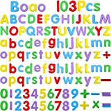 Boao Magnetic Letters and Numbers for Kids 103 Pieces Alphabet Refrigerator Magnets for Learning