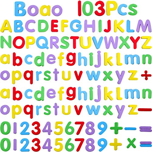 Boao Magnetic Letters and Numbers for Kids 103 Pieces Alphabet Refrigerator Magnets for Learning by Boao